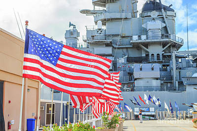 Photograph - Missouri Battleship Memorial Flags by Benny Marty