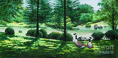 Painting - Missouri Botanical Gardens Lake Scene by Michael Frank