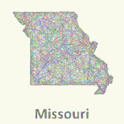 Missouri Drawing - Missouri Line Art Map by David Zydd