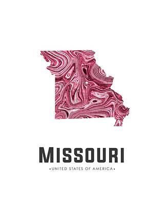 Mixed Media - Missouri Map Art Abstract In Purple by Studio Grafiikka