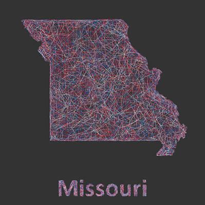 Missouri Drawing - Missouri Map by David Zydd