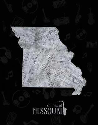 Jazz Royalty-Free and Rights-Managed Images - Missouri Map Music Notes 2 by Bekim Art