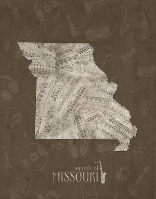 Jazz Royalty-Free and Rights-Managed Images - Missouri Map Music Notes 3 by Bekim Art