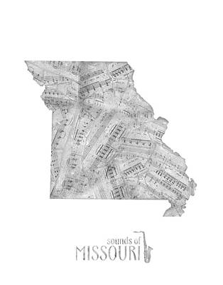 Jazz Royalty-Free and Rights-Managed Images - Missouri Map Music Notes by Bekim Art