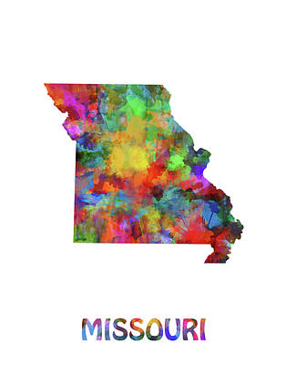 Cardinal Digital Art - Missouri Map Watercolor by Bekim Art