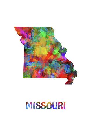 Cardinal Digital Art - Missouri Map Watercolor by Bekim Art