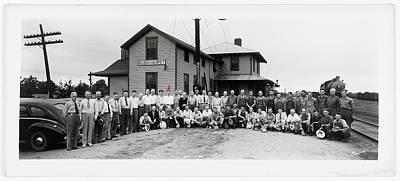 Photograph - Missouri Pacific Bush Hurst Il Depot And Crew by Missouri Pacific Historical Society