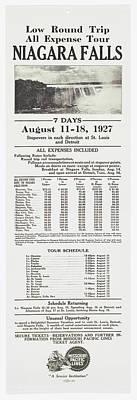 Photograph - Missouri Pacific Niagra Falls Broadside Advertisement by Missouri Pacific Historical Society