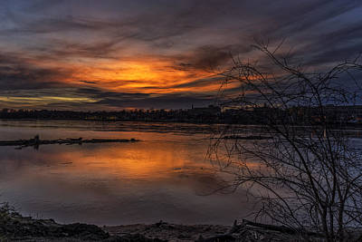 Photograph - Missouri River Sunset St Charles Mo Dsc09710-1-2 by Greg Kluempers