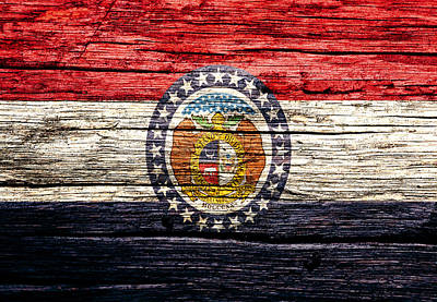 Old Glory Mixed Media - Missouri State Flag 5w by Brian Reaves