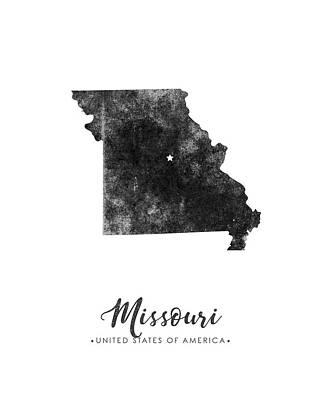 Geography Mixed Media - Missouri State Map Art - Grunge Silhouette by Studio Grafiikka