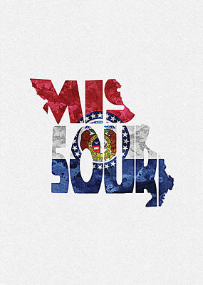 Digital Art - Missouri Typographic Map Flag by Inspirowl Design