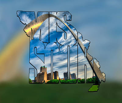 Photograph - Missouri Typography Blur Artwork - The Saint Louis Arch And City Skyline by Gregory Ballos