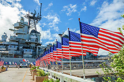 Photograph - Missouri Warship Memorial Flags by Benny Marty