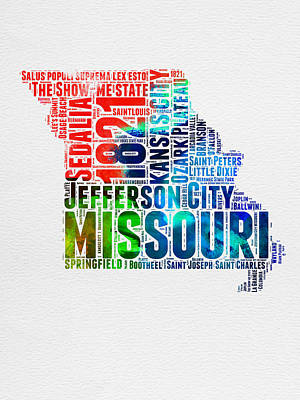 Kansas City Digital Art - Missouri Watercolor Word Cloud Map  by Naxart Studio