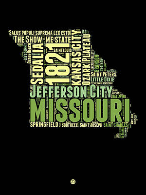 Kansas City Digital Art - Missouri Word Cloud Map 1 by Naxart Studio