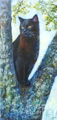 Missy In Tree Art Print by Jana Baker