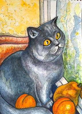 Painting - Missy With Fruits by Rae Chichilnitsky