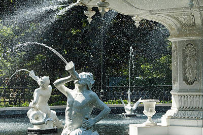Mist At Forsyth Fountain Art Print by Steven Bateson