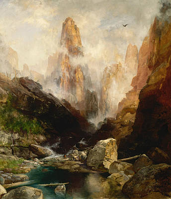 Canyons Painting - Mist In Kanab Canyon Utah by Thomas Moran