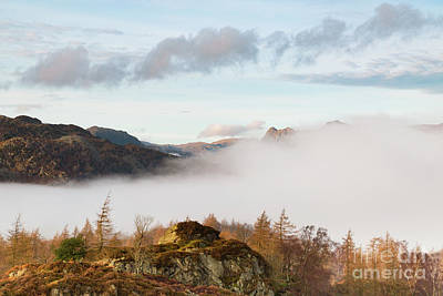 Langdale Pikes Photograph - Mist Over Hodge Close by Tony Higginson