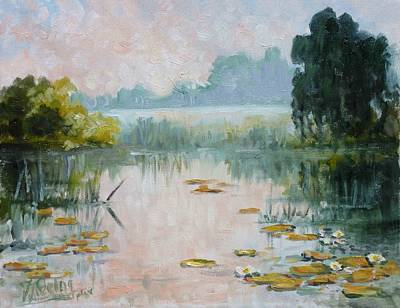 Painting - Mist Over Water Lilies Pond by Irek Szelag