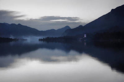 Photograph - Mist Rising On The Wolfgangsee At Dusk by Menega Sabidussi
