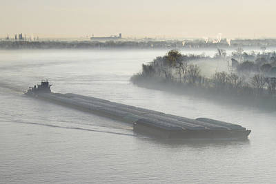 Mist Shrouded River And Tugboat Art Print by Jeremy Woodhouse