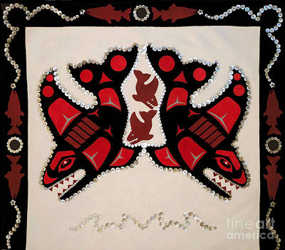 Wall Art - Tapestry - Textile - Mistamekwakii  - Whales - Northern Cree by Chholing Taha