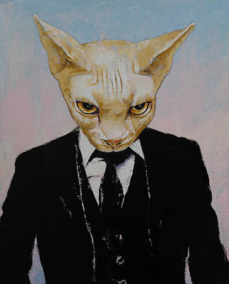 Sphynx Cat Painting - Mister Cat by Michael Creese