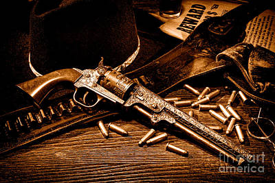 Mister Durant's Revolver - Sepia Art Print by Olivier Le Queinec