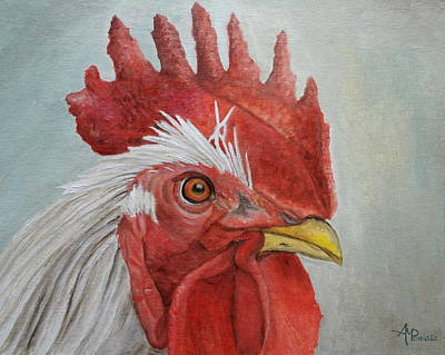 Chicken Portrait Wall Art - Painting - Mister Rooster by Angeles M Pomata