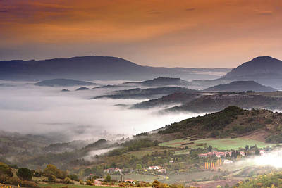 Photograph - Misty Autumn Dawn, Brenac, France by Jean Gill
