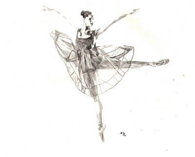 Drawing - Misty Ballerina Dancer IIi by Lee McCormick