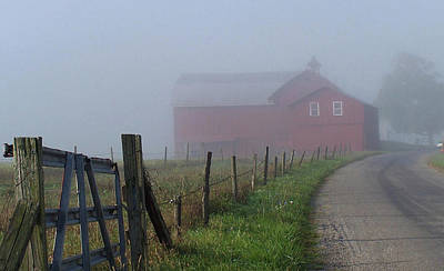 Photograph - Misty Barn by Christine Lathrop