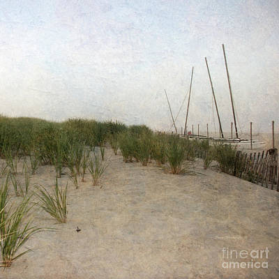 Photograph - Painterly Misty Beach Boats And Sand Dunes by John Stephens