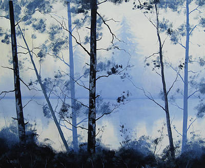 Paintings - Misty Blue Lake by Graham Gercken