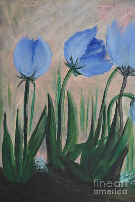 Painting - Misty Blue Parrot Tulips 2a by Maria Urso