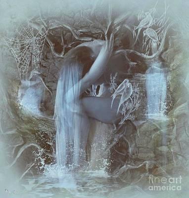 Digital Art - Misty Blues by Ali Oppy