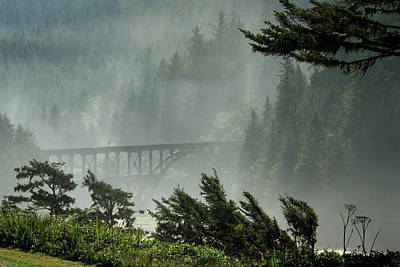 Misty Bridge At Heceta Head Art Print by James Eddy