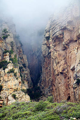 Art Print featuring the photograph Misty Canyons by Phyllis Denton