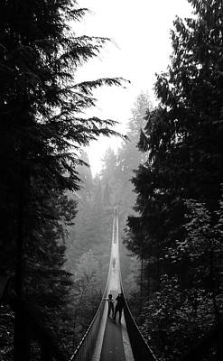 Photograph - Misty Capilano Suspension Bridge by Perggals - Stacey Turner