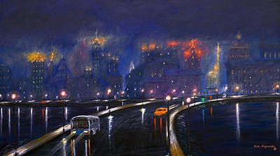 Movie Painting - Misty City Cropped And Popped by Ken Figurski