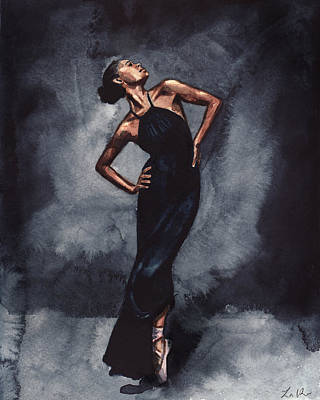 Fashion Illustration Wall Art - Painting - Misty Copeland Ballerina Dancer In A Black Dress by Laura Row