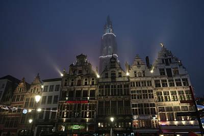 Photograph - Misty Evening Grote Markt Antwerp by Erik Tanghe