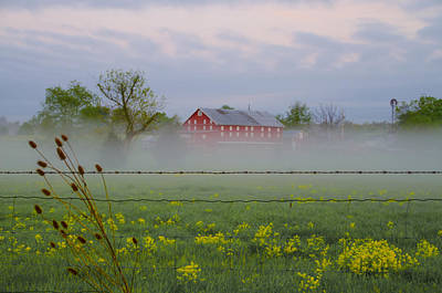 Barbed Wire Fences Digital Art - Misty Farm In Gettysburg by Bill Cannon