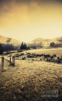 Misty Farmyard In Tasmania Art Print by Jorgo Photography - Wall Art Gallery
