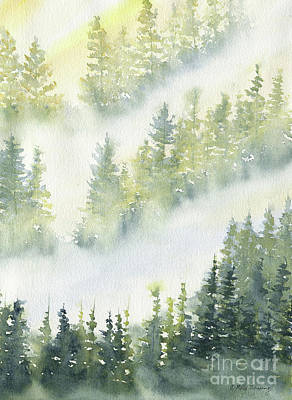 Painting - Misty Fog In Pine Forest by Melly Terpening