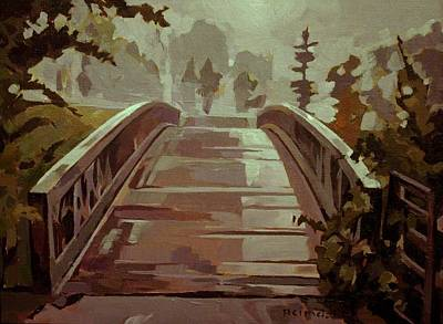 Art Print featuring the painting Misty Footbridge by Tim  Heimdal