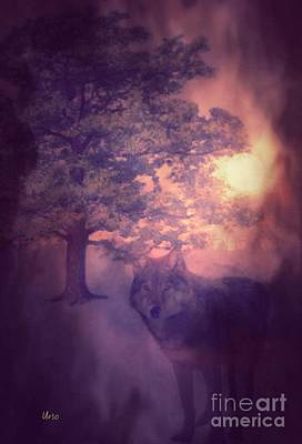Digital Art - Misty Forest Night by Maria Urso
